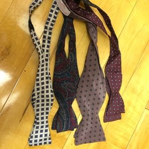 4 vintage silk, adjustable self-tie bow ties